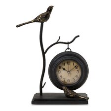 Bird and Branch with Hanging Clock in Black with Gold Leaf