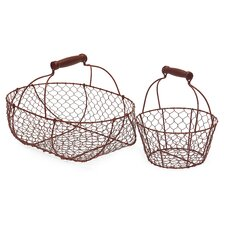 2 Piece Wire Basket Set in Red
