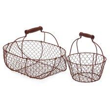 2 Piece Wire Basket Set in Red
