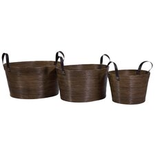 <strong>IMAX</strong> 3 Piece Oval Wrapped Rattan Basket Set with Handle