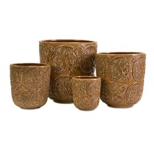 Paisley Round Planters (Set of 4)