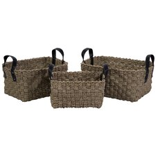 <strong>IMAX</strong> 3 Piece Natural Sea Grass Basket Set with Faux Leather Handles