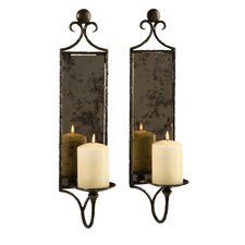 Hammered Mirror Wall Sconce (Set of 2)