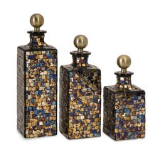 3 Piece Moulin Mosaic Decorative Bottle Set