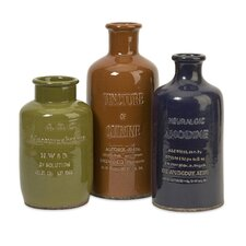 3 Piece Vintage Ceramic Bottle Sculpture