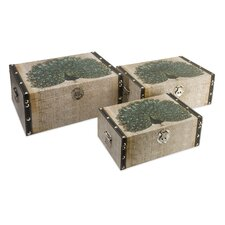 Peacock Storage Boxes (Set of 3)