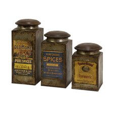 Addie Vintage Label Wood and Metal Canister (Set of 3)
