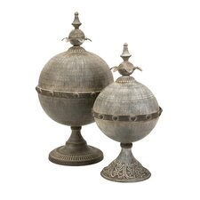 Decorative Lidded Sphere Finial (Set of 2)