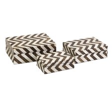 3 Piece Zig Zag Bone Inlay Box Set