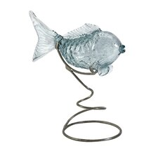 Pisces Glass Fish Statue on Metal Stand