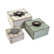 Bennett Flower Top Boxes (Set of 3)