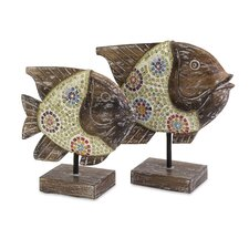 2 Piece Kawela Mosaic Glass Fish Figurine