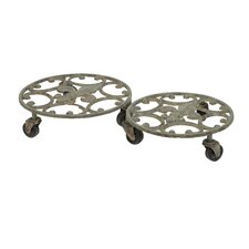 Fleur De Lis Round Planter Trolly on Casters (Set of 2)