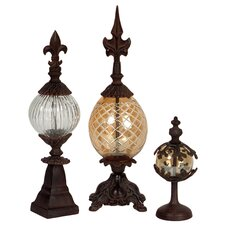 Three Piece Glass and Metal Finial Set
