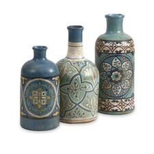 3 Piece Kabir Hand Painted Vase Set