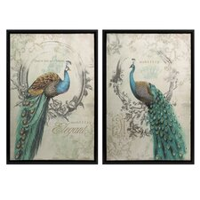Panache Peacock 2 Piece Framed Painting Print Set