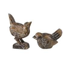 2 Piece Baruti Wood Carved Birds Statue Set
