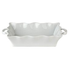 BIA Wavy Bakeware Deep Rectangular Roaster in White