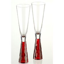 Artland Prescott Flute Glass in Red (Set of 2)
