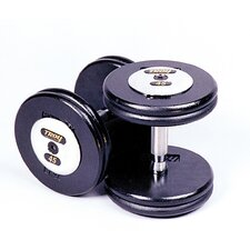145 lbs Pro-Style Cast Dumbbells in Black (Set of 2)