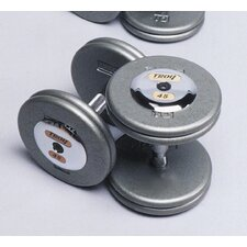 140 lbs Pro-Style Cast Dumbbells in Gray (Set of 2)