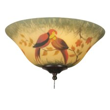 Hand-painted Parrot Ceiling Fan Glass Bowl Shade