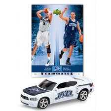 NBA Dodge Chargers Die-cast with Basketball Card - Utah Jazz