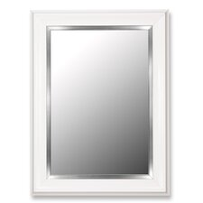 Glossy White Grande / Stainless Liner Framed Wall Mirror