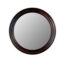 Round Mirror in Dark Walnut