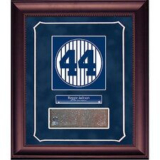 Reggie Jackson Retired Number Monument Park Brick Slice 14x18 Framed Collage with Nameplate