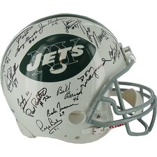 1969 Jets Team Signed NFL Throwback Helmet Signed in Black