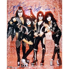 Kiss Autographed Group Pose Fire Photograph