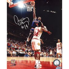 NBA Anthony Mason Slam Dunk Over Olajuwon Vertical Autographed