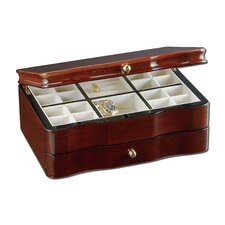 "Scalloped Front Teak 4.5"" High Jewelry Box in Brown Stain"
