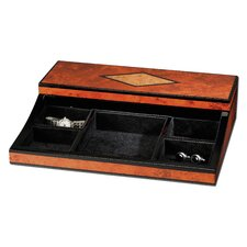 Maple Burl Diamond Design Valet Jewelry Box