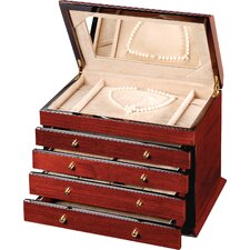 "Teak 9.75"" High Four-Drawer Jewelry Box in Brown Stain"