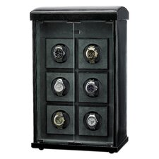 French Glass Door Watch Winder for Six in Genuine Black Leather