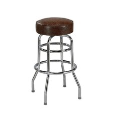 "Steel Double Ring 30"" Backless Metal Swivel Barstool"