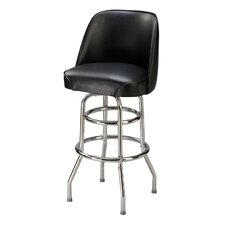 "Classic Double Ring 30"" Metal Swivel Bucket Barstool"