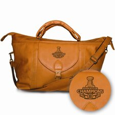 "NHL Limited Edition Boston Bruins Stanley Cup Champs 25"" Leather Top Zip Travel Duffel"