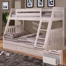 White Twin over Full Bunk Bed with Built-In Ladder