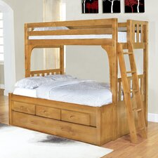<strong>Discovery World Furniture</strong> Convertible Twin over Full Three Drawer Bunk Bed with Trundle Bed