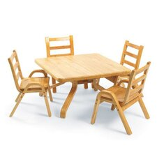 "NaturalWood 20"" Square Toddler Table and Chair Set"