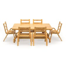 "NaturalWood 12"" Rectangle Toddler Table and Chair Set"