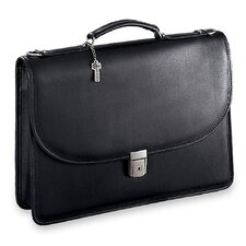 Platinum Single Gusset Flap Briefcase with Open Back