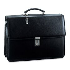 Platinum Double Gusset Flap Briefcase with Combination Lock