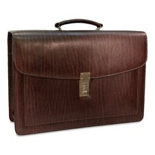 Belting Double Gusset Leather Briefcase