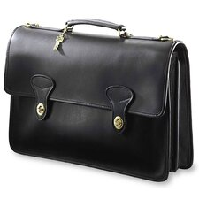 <strong>Jack Georges</strong> University Double Gusset 2 Turn Leather Briefcase