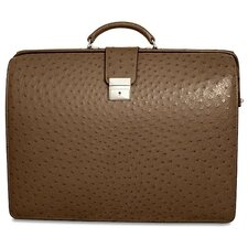 Genuine Ostrich Classic Leather Laptop Briefcase