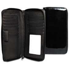 <strong>Jack Georges</strong> Patent Zippered Checkbook / Travel Wallet